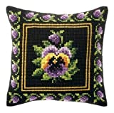 Border Pansy Cushion Front Chunky Cross Stitch Kit
