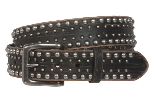 """1 1/2"""" Snap on Antique Silver Circle Metal Studded Distressed Leather Belt Size: 36"""" Color: Black"""