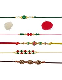 Pearlz Ocean Cute And Holy Rakhi Combo Collection In Round And Oval Shapes With Alloy Reshmi Dhaga And Fabric...