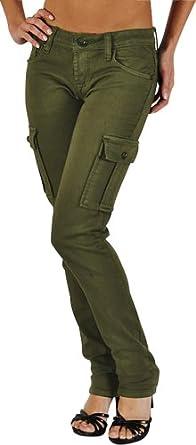 Stretch Olive Cargo Skinny Jeans, 9, Olive