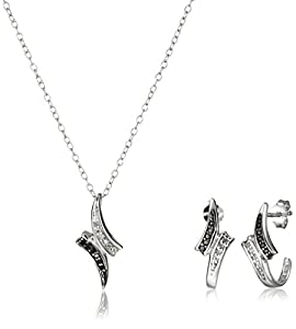Sterling Silver Black/White Diamond Wave Pendant Necklace and J-Hoop Earrings Jewelry Set (1/10cttw, K-L Color, I2-I3 Clarity)