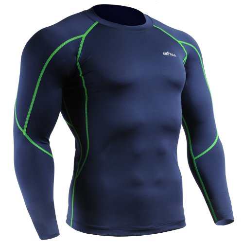 emFraa Men Women Skin Tight Baselayer T Shirt Running Navy-green Top Longsleeve S ~ XXL