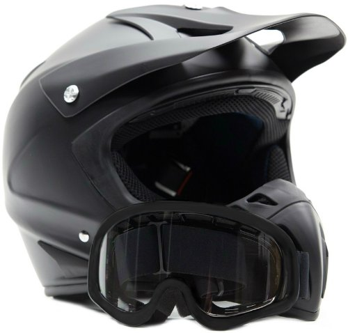 Adult Offroad Helmet & Goggles Gear Combo DOT Motocross ATV Dirt Bike MX Flat Matte Black ( M Medium )