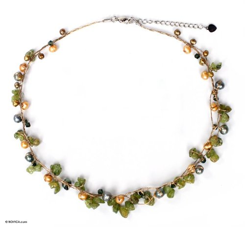 Pearl and Green Peridot Strand Necklace, 'Tropical Elite'