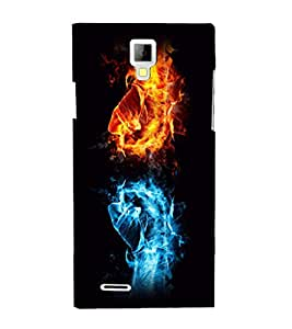printtech Fire Ice Hands Punch Back Case Cover for Micromax A99 Canvas Xpress