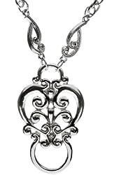 1928 Silver-tone Fancy Scroll Eyeglass Holder Necklace