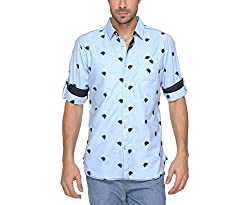 Copperstone Men's Casual Shirt (8903944597242_Blue_XX-Large)