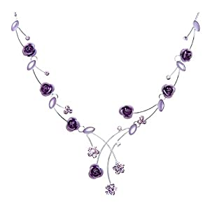 Glamorousky Elegant Rose Necklace with Purple Swarovski Element Crystals and Crystal Glass - 40cm +8.5cm extension chain (962)