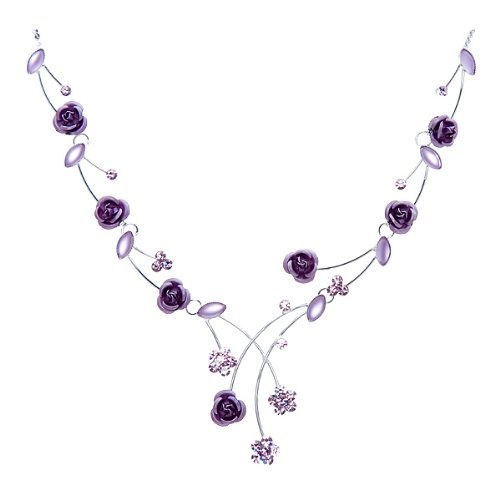 Glamorousky Elegant Rose Necklace with Purple Austrian Element Crystals and Crystal Glass (962)