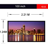 Excelvan Portable Collapsible Projector Projection Screen 100 Inch, 16:9 PVC Fabric, Matte White with 1.1 Gain, Packaged In Rolls for Home Theater, Education, Conference Presentation
