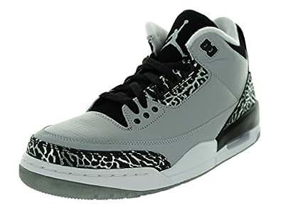 Nike Jordan Men's Air Jordan 3 Retro Wolf Grey/Metallic Silver/Blck/Wht Basketball Shoe 7.5 Men US