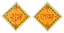 999Store handmade multicolour wooden square yellow shubh labh diwali door hanging