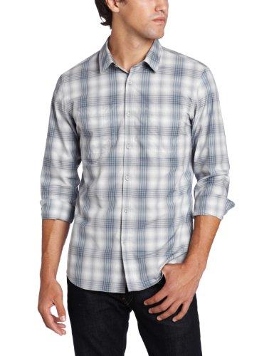 Calvin Klein Sportswear Men's Utilitarian Long Sleeve Ombre Plaid Poplin Woven, Smokestack, Large