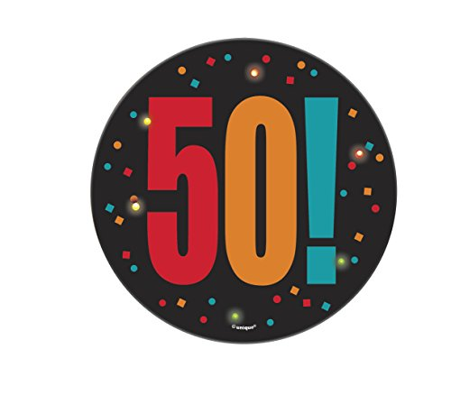 Birthday Cheer Large Blinking Age 50 Badge, 1-count