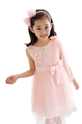Toddler Girls Princess Graceful Asymmetry Floating Gauze Flower Paillette Bow Tulle Dress age 1-9