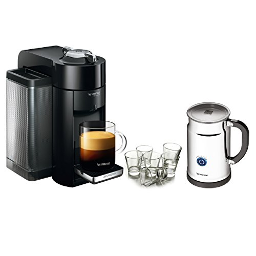 Nespresso VertuoLine Evoluo Deluxe Piano Black Coffee and Espresso Maker Bundle with Aeroccino Plus and Free Set of 6 Espresso Glasses (Nespresso Vertuoline Frother compare prices)