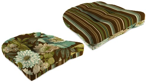 Jordan Manufacturing Reversible Tufted Wicker Chair Cushion, Jolene Floral/Stripe Chocolate picture