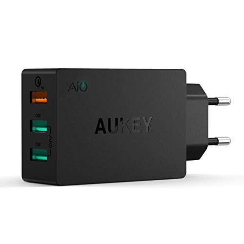 AUKEY Quick Charge 2.0 Cargador USB de Pared Dual Puerto 42W 5V/4,8A con Tecnología AiPower para iPhone, iPad, Samsung Galaxy Note 7, S7, HTC, LG, Motorola y otros Dispositivos USB & Cable Micro USB(1m)(Negro)