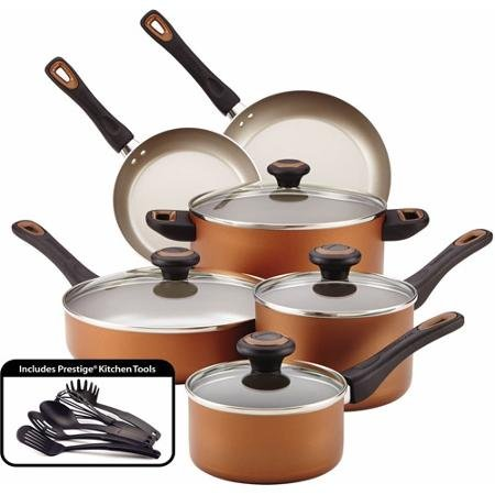 Farberware High-Performance Nonstick 15-Piece Cookware Set, Copper (Pots And Pans Set Copper Bottom compare prices)