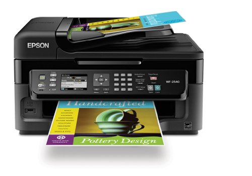 Epson WorkForce WF-2540 Wireless All-in-One Color Inkjet Printer, Copier, Scanner ADF, Fax. Prints from Tablet/Smartph​one. AirPrint Compatible (C11CC36201)