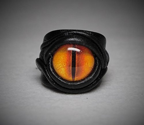 Dragon eye adjustable genuine leather ring. Statement ring. Horror leather ring. Evil eye finger ring. Halloween ring. Burning man costumes. (Dragon Eye Ring compare prices)