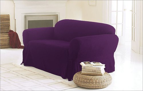 3 Pieces Solid Purple Suede Couch/sofa Cover with Loveseat and Chair Slipcover