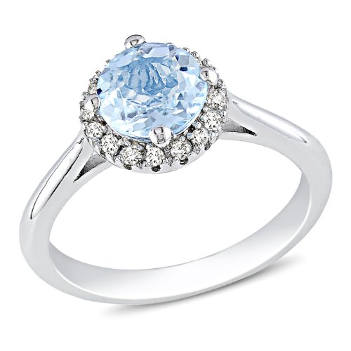 Sterling Silver 1 CT TGW Sky Blue Topaz 1/10 CT TDW Diamond Fashion Ring (G-H, I3)