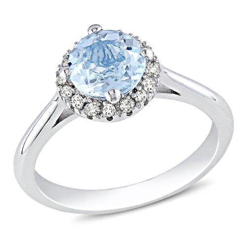 Sterling Silver 1 CT TGW Sky Blue Topaz 1/10 CT TDW Diamond Fashion Ring (G-H, I3)