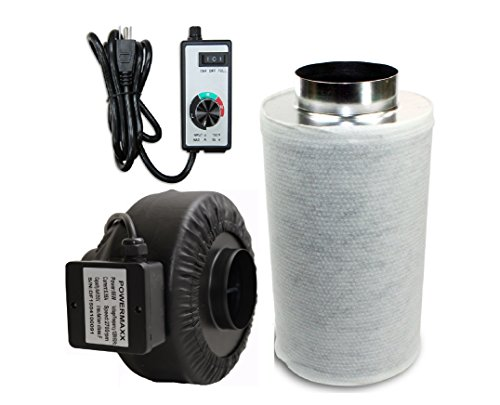 Powermaxx Premium Charcoal Carbon Filter and Inline Fan Combo with Speed Controller (6 IN) (Carbon Filter Fan Combo 6 Inch compare prices)