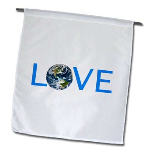 Fl_180474_1 Inspirationzstore Love Series - Love Planet Earth - Text With Blue World Globe Photo From Space For O - Flags - 12 X 18 Inch Garden Flag