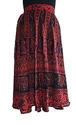 PMS Cotton Multi Color Wrap Around Woman's Skirts (Medium Length)