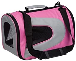 Pet Life Folding Zippered Sporty Mesh Carrier  - Pink - Medium