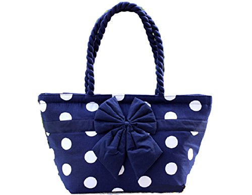 Best Gift Handbag / Tote Bag Polka Dot collection small size and boat shape Handmade from Naraya Thailand (Blue and White) (Jelly Handbags Furla compare prices)