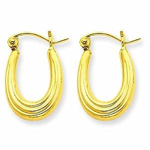 10k Fancy Small Hoop Earrings