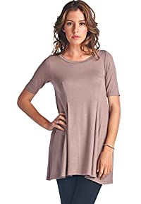 LeggingsQueen Women's Short Sleeve Swing Dress Tunic Top