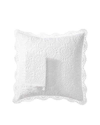 Mélange Home Set of 2 Crochet Coverlet Shams, White, Euro