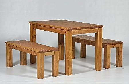 """Sitzgruppe Garnitur mit Esstisch """"Brasil-Möbel"""" 120x80cm + 2x Bank 120x38cm Pinie Massivholz, geölt und gewachst, Farbton Honig, Optional: Ansteckplatten, das Original!!!"""