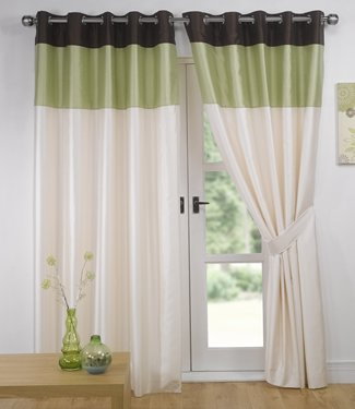 Green Chocolate Eyelet Curtains - Faux Silk Vienna - 90'' x 108''