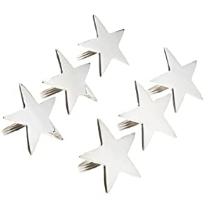 DII Silver finish 5-Point Star Napkin Ring, Set of 6
