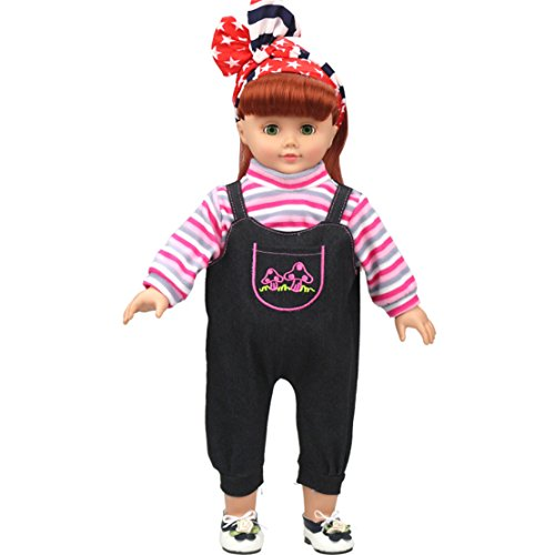 [HappyBB Baby Doll Clothes Skirt Fits 16 inches American Girl Doll Denim Sling Suit (Red)] (2pc Child Cheerleader Costumes)