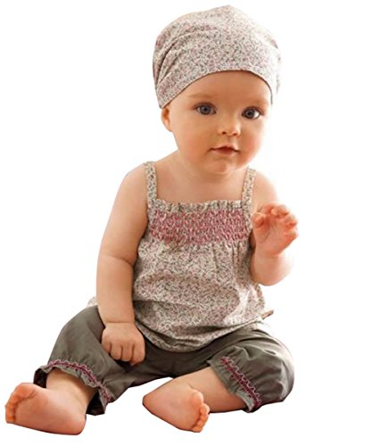 3pcs Baby Infant Girl Kid Headband+top+pants Shorts Floral Outfit Set Clothes (0-12 Months)