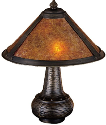 14 Inch H Van Erp Amber Mica Accent Lamp Table Lamps