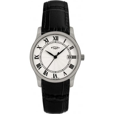 Rotary Gents Super 25 Quartz Black Leather Strap Watch GS00792-21