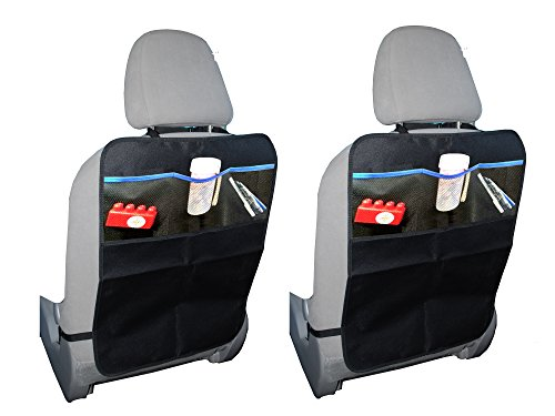 Kick Mats Car Seat Back Protectors with Organizer Pockets - 2 PACK By Koolacc | Protect Seat Back From Damage | Extra Large Fits Most Vehicles | 100% No Hassle Guarantee (Car Organizer Freddie compare prices)