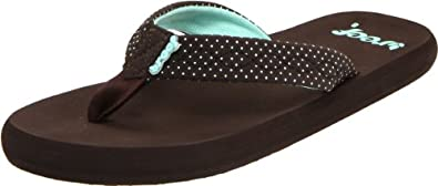 Reef Women's Seaside Thong Sandal,Brown/Aqua Dots,5 M US