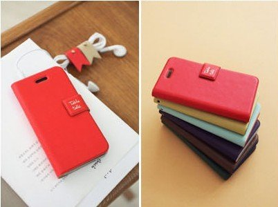 RED Table Talk Flip Case PU Leather for iPhone4
