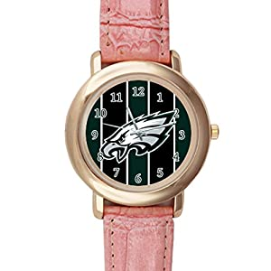 Time Walker Men's Easy to Read NFL Philadelphia Eagles Crocodile Faux Leather Pink Analog Watches