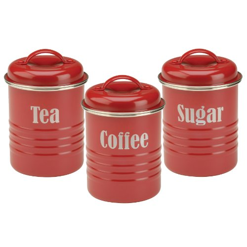 Vintage Red Kitchen Canister Storage Sets Red Kitchen