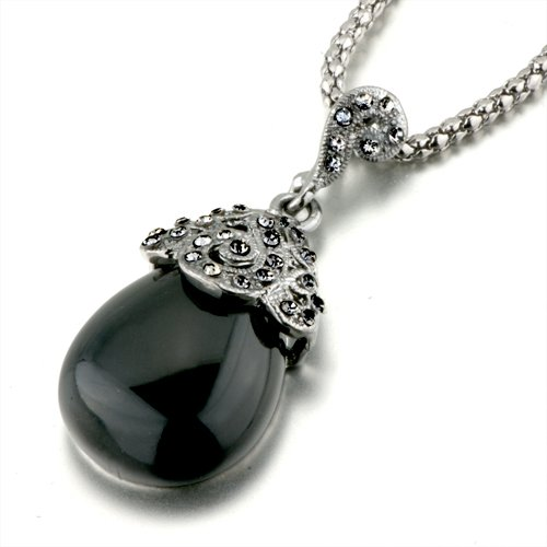 Pugster Black Drop Decorative Pattern Crystal Pendant Necklace Murano Glass