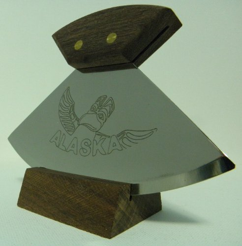 """Alaskan Made Ulu With Walnut Handle And Alaskan Native Totem Etched 6"""" Blade"""